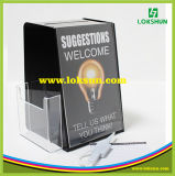 Black Acrylic Suggestion Nome Card Collection Box Plexiglass Donation Box com Brochure Holder
