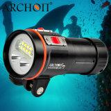 Toorts 18650 van de scuba-uitrusting Video het Duiken Licht met HoofdTribune van de Bal, tot 100m