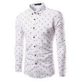 Chemise de robe d'impression de longue chemise formelle de Mens pleine (A423)