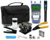 Kits de herramienta ópticos de fibra de FTTH con el contador de potencia óptico Vfl y la caja de herramientas del cable de gota de la cuchilla FTTX de la fibra