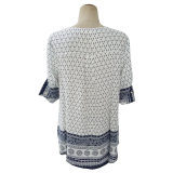 (H930#) - 3/4 di camicia della stampa del manicotto delle signore con le nappe