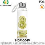 De in het groot Fles van het Water van het Glas BPA Vrije 550ml, de Aangepaste Fles van het Water van het Glas (hdp-0040)