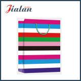 광택 있는 박판으로 만들어진 아트지 다채로운 넓은 줄무늬 선물 종이 핸드백