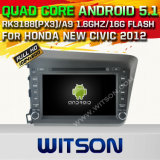 Carro DVD GPS do Android 5.1 de Witson para Honda 2012 cívico novo com sustentação do Internet DVR da ROM WiFi 3G do chipset 1080P 16g (A5728)