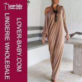 女性綿のマキシの長い方法服(L51280)