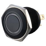 16mmアルミニウム黒く短いボディ12V白いLED車スイッチ