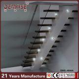 Escaleras rectas de madera de la escalera recta del hierro labrado (DMS-4001)