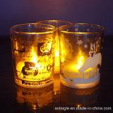 ワックスはガラスLEDの蝋燭の一義的な蝋燭の瓶を記入する