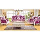 Ledernes Sofa mit hölzernem Sofa-Rahmen und Seiten-Tisch (508)