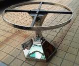 Tabella pranzante rotonda di disegno barrocco con vetro superiore