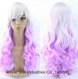 Парики курчавых волос градиента Anime Lolita Cosplay женские длинние