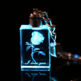 Inneres Shape Crystal Keychain, LED Light Glass Keychain für Gifts