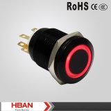 Interruptor de pulsador rojo de enganche momentáneo de RoHS 19m m 12V LED del Ce