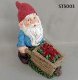 Gnome сада с бочонком колеса для малых плантатора или держателя ключа, пестротканым