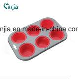 Bruits de gâteau de moulages en acier de /Carbon de silicones, silicones Bakeware carter de pain de 6 cuvettes