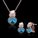 Conjunto plateado oro del collar de diamante del Zircon de Rose y de la joyería de los pendientes