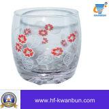 Kop van het glas met het Overdrukplaatje van het Ontwerp van de Bloem drukte Mooie Kop kb-Hn0409 af