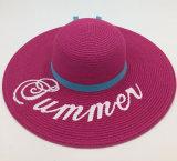 인쇄한 로고를 가진 넓은 테두리를 가진 서류상 밀짚 모자는 Sh051를 말로 나타낸다