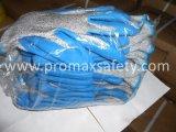 Перчатки отрезока отрезока 5 связанные упорные при голубая покрынная ладонь латекса Crinkle