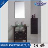 Governo di vetro semplice di vanità della stanza da bagno di legno solido del lavabo