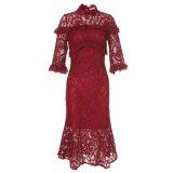 Polyester-rotes hohles gedrucktes Frauen-Blumenkleid mit halber Hülse