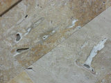 T102 Golden Travertine Polished Bathroom Floor 또는 Flooring/Wall Cladding Tile