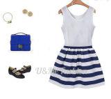新しい方法偶然の青いしまのあるステッチの女性の服