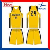 Uniforme amarillo y negro de la sublimación de encargo de Healong del baloncesto