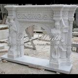 Bordure blanche Mfp-432 de cheminée de Carrare de granit en pierre de marbre