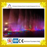 Fontana di acqua multicolore sincronizzata con musica