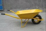 黄色金属の皿の庭の手押し車の車輪のカートWb6400