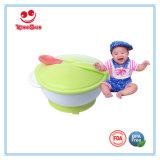 Bacia de sucção de alimentação do bebê com colher e tampa