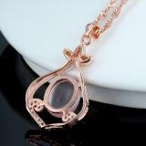 女性の鎖が付いている自然な石造りのローズの金のネックレスの水晶吊り下げ式のネックレス