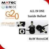 Lampada capa automatica del faro dell'indicatore luminoso dell'automobile di H4 H7 H11 LED con 4 chip 80W 8000lm della PANNOCCHIA dei lati