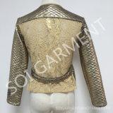 Новые Knit золота и куртка способа шнурка для повелительниц (JA-06)