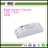 18W conductor del voltaje constante del factor 12V 24V del poder más elevado, fuente de alimentación, fuente de alimentación del LED