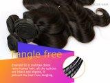 Color brasileño del negro de la onda de la carrocería del pelo de la Virgen armadura del pelo humano de 18 pulgadas