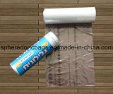 El bolso de compras plástico del rodillo plano con circula la muestra