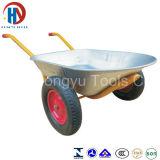 二重車輪が付いている亜鉛によってめっきされる皿の一輪車