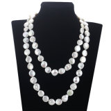 12mm White AA Unique nupcial Pearl Necklace Knot