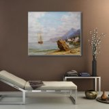 キャンバスの油絵の帆船