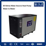 Calentador de agua de tierra geotérmico de la fuente de la pompa de calor del invierno de -25c que se ejecuta de la casa de suelo de la calefacción -15c del glicol del bucle Evi10kw/15kw del inversor frío de la C.C.