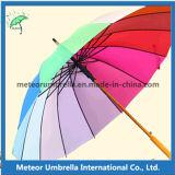 Fantastischer bunter Förderung-Geschenk-Sonnenschirm-hölzerner automatischer Regenbogen-Regenschirm