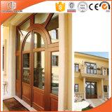 Подгонянная дверь твердой древесины размера прикрепленная на петлях, пролом США термально алюминиевый определяет прикрепленную на петлях дверь для дома верхнего сегмента