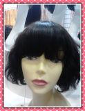 Chemiefasergewebe-Haar der lockiges Haar-kurzes Haar-Perücke-volles Spitze-Perücke-8inches