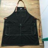 Tablier chaud d'artisan de cuir de toile de noir de vente