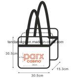 Os sacos de Tote desobstruídos plásticos cancelam sacos do Zipper do PVC do vinil com punhos