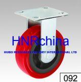 Rotes PU-industrielles Hochleistungsrad-steife Fußrolle