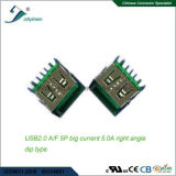 Tipo de ángulo recto grande &#160 de la INMERSIÓN de la corriente 5A de USB2.0 a/F 5p; El ningún encresparse