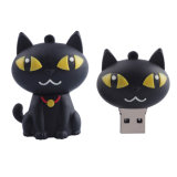 A movimentação da pena do polegar das movimentações do flash da memória do USB do gato preto dos desenhos animados do disco 4GB 8g 16g 32g da movimentação U da pena da movimentação do flash do USB de Garunk livra o transporte